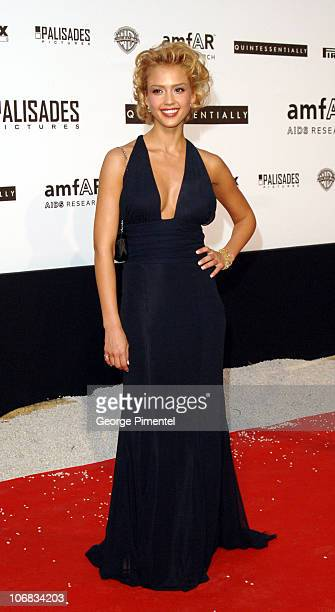 """Jessica Alba during amfAR """"Cinema Against AIDS"""" Gala Presented by Miramax Films, Palisades Pictures and Quintessentially - Arrivals at Le Moulins de..."""