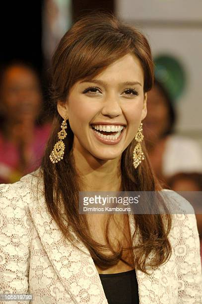 Jessica Alba during Jessica Alba and Common Visit MTV's 'TRL' September 28 2005 at TRL Studios Times Square in New York City New York United States