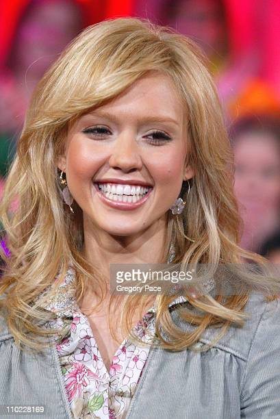 Jessica Alba during Jessica Alba Visits MTV's 'TRL' March 24 2005 at MTV Studios Times Square in New York City New York United States