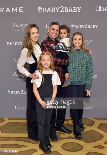 Jessica Alba, Haven Garner Warren, Cash Warren, Hayes Alba Warren and Honor Marie Warren attend The Baby2Baby Holiday Party Presented By FRAME And...