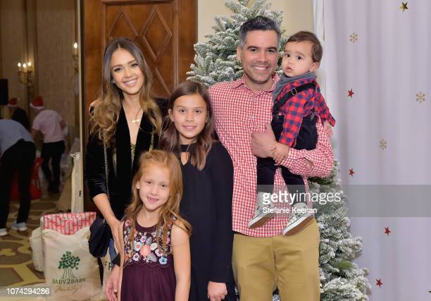 Jessica Alba, Haven Warren, Honor Warren Cash Warren, and Hayes Warren attend the Baby2Baby Holiday Party Presented by FRAME at Montage Beverly Hills...