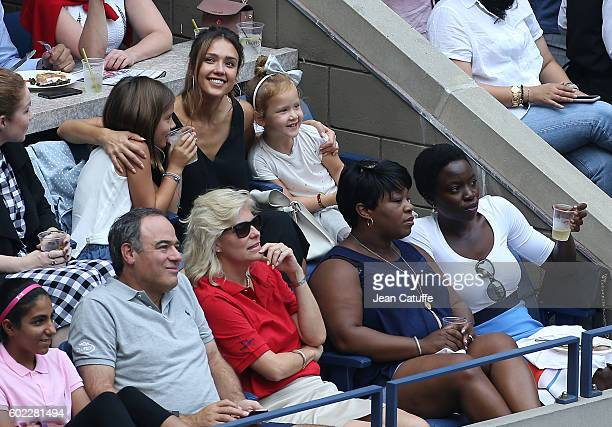 Jessica Alba her daughters Honor Warren and Haven Warren and Danai Gurira attend the women's final at Arthur Ashe Stadium on day 13 of the 2016 US...