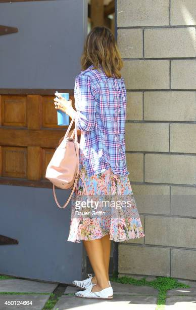 Jessica Alba in floral color outfit on June 05 2014 in Los Angeles California