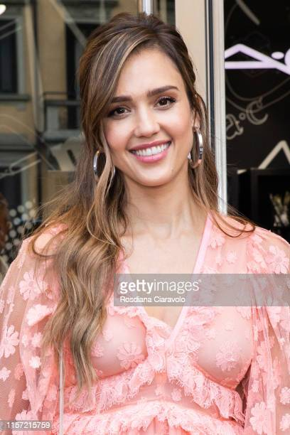 Jessica Alba is seen arriving a Meet Greet event for the presentation of the Honest Beauty line at Douglas store in Milan on June 20 2019 in Milan...