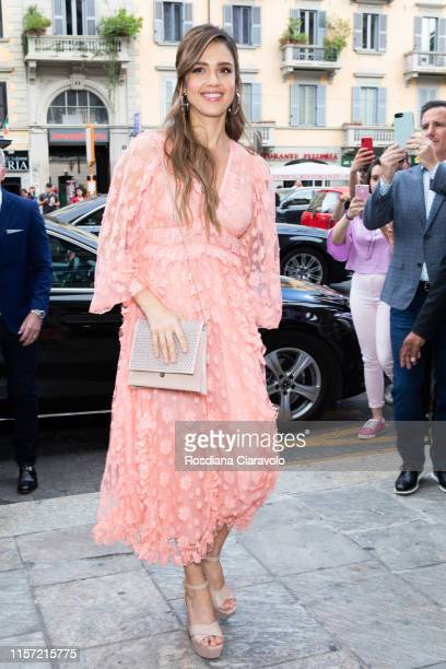 Jessica Alba is seen arriving a Meet & Greet event for the presentation of the Honest Beauty line at Douglas store in Milan on June 20, 2019 in...