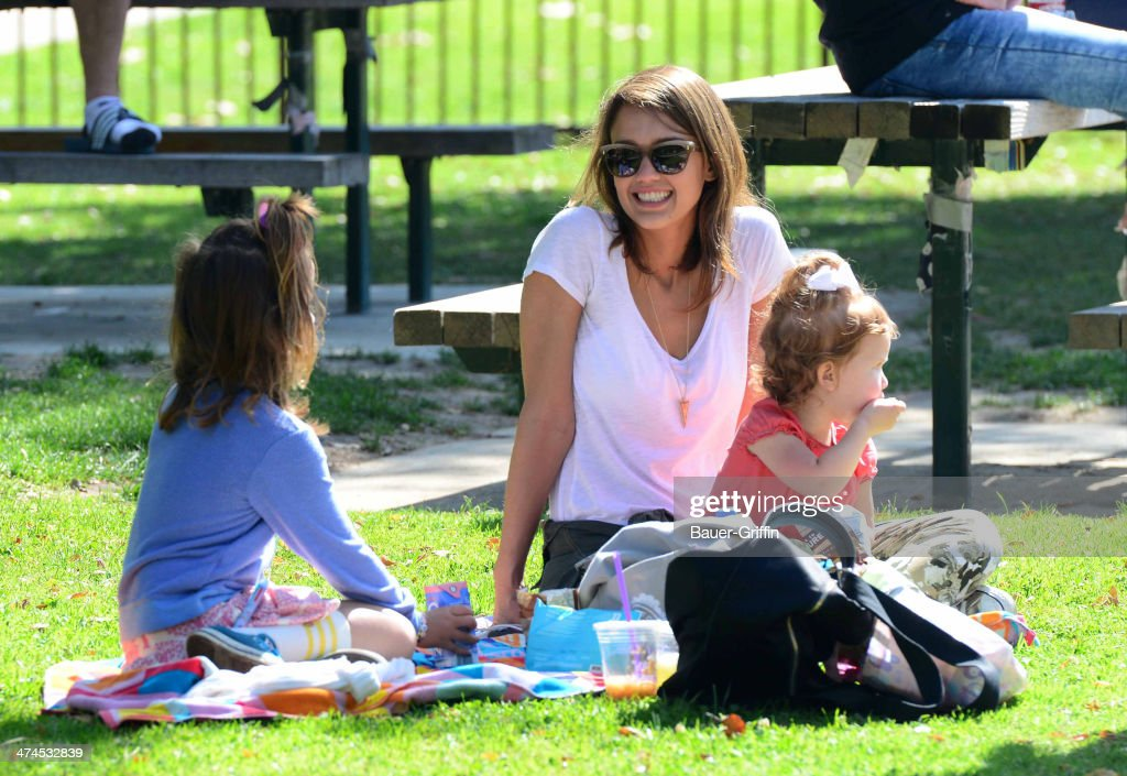 Jessica Alba is seen at Coldwater Canyon Park with her daughters, Haven Garner Warren and Honor Marie Warren on February 23, 2014 in Los Angeles, California.