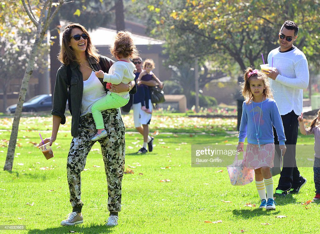 Jessica Alba is seen at Coldwater Canyon Park with her husband, Cash Warren, and daughters Honor Marie Warren and Haven Garner Warren on February 23, 2014 in Los Angeles, California.