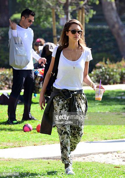 Jessica Alba is seen at Coldwater Canyon Park with her husband Cash Warren on February 23 2014 in Los Angeles California