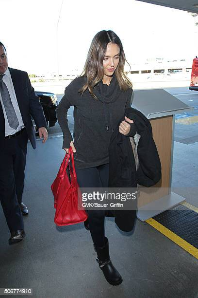Jessica Alba is seen at LAX on January 25 2016 in Los Angeles California