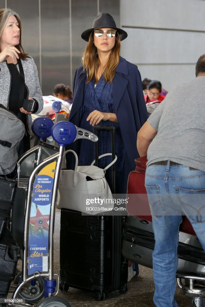 Jessica Alba is seen at LAX on June 14, 2018 in Los Angeles, California.