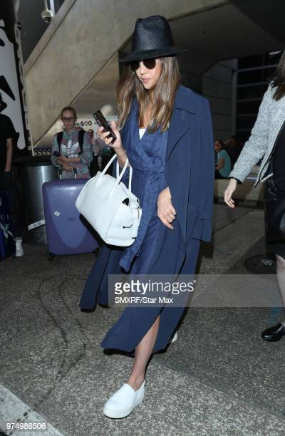 Jessica Alba is seen at Los Angeles International Airport on June 14 2018 in Los Angeles California