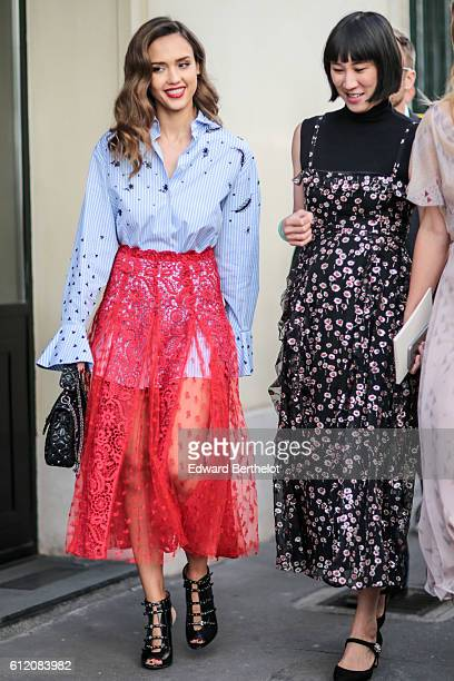 Jessica Alba is seen outside the Valentino show during Paris Fashion Week Spring Summer 2017 on October 2 2016 in Paris France