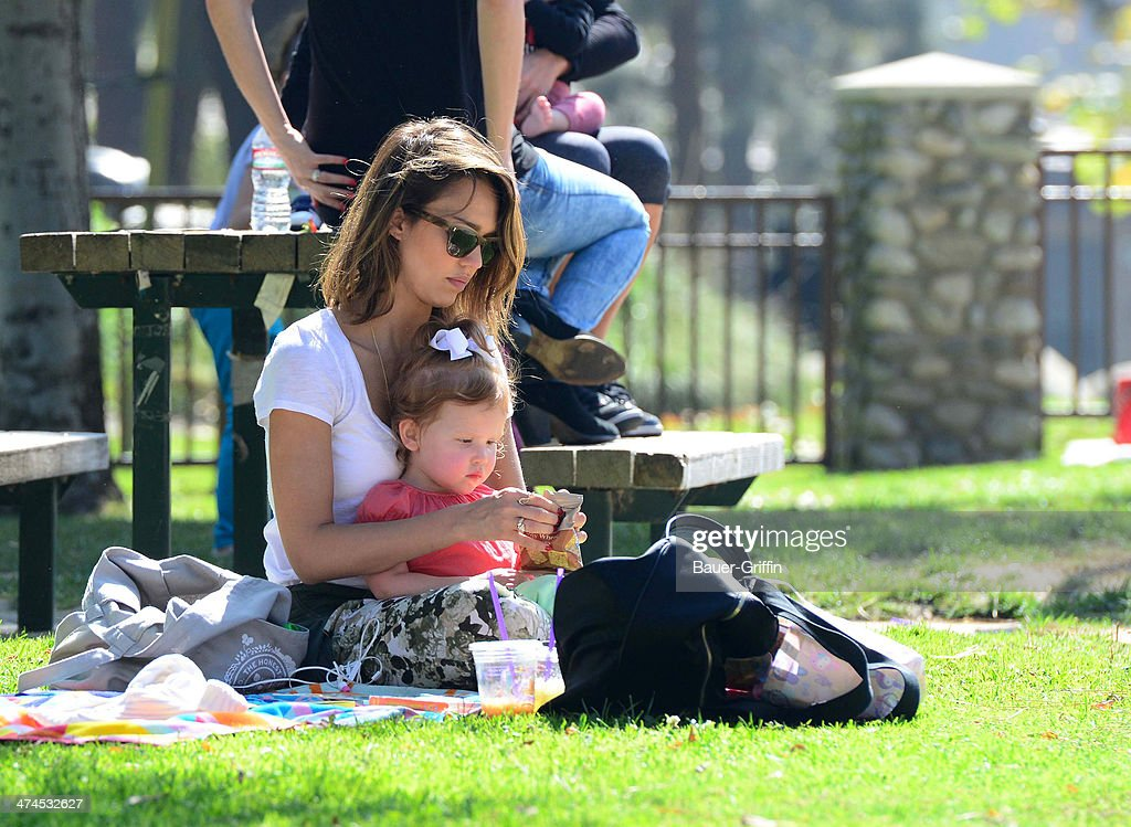 Jessica Alba is seen with her daughter, Haven Garner Warren, at Coldwater Canyon Park on February 23, 2014 in Los Angeles, California.