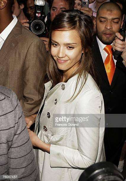 Jessica Alba leaves the Hyatt hotel on July 05 in Paris France
