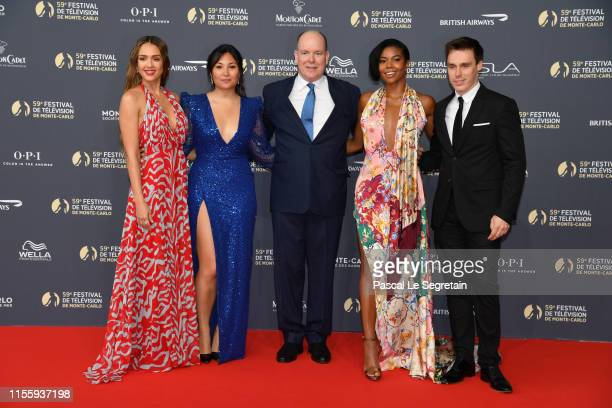 Jessica Alba Marie Chevalier Prince Albert II of Monaco Gabrielle Union and Louis Ducruet attend the opening ceremony of the 59th Monte Carlo TV...