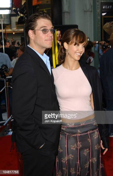 Jessica Alba Michael Weatherly during The Italian Job Premiere Red Carpet Arrivals at Mann's Chinese Theater in Hollywood California United States