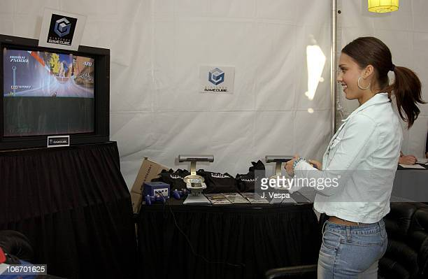 Jessica Alba playing Nintendo during Nickelodeon's 15th Annual Kids Choice Awards Backstage Creations Talent Retreat Day 2 at Barker Hangar in Santa...