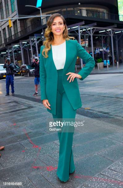 Jessica Alba poses in front of NASDAQ headquarters on the day of the IPO of her company Honest on May 05, 2021 in New York City.