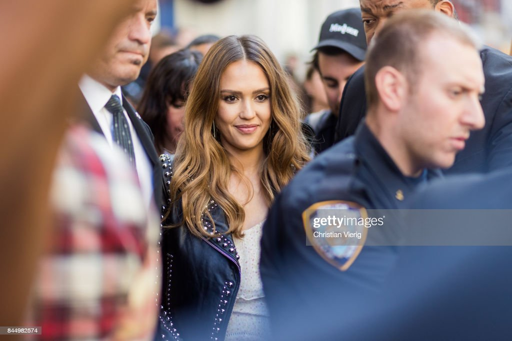 Jessica Alba seen in the streets of Manhattan outside Rebecca Minkoff during New York Fashion Week on September 9, 2017 in New York City.