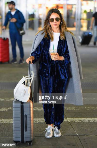 Jessica Alba seen out in JFK Airport in Queens on May 7 2018 in New York City