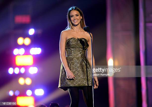Jessica Alba speaks onstage at the Third Annual Hall of Game Awards hosted by Cartoon Network at Barker Hangar on February 9 2013 in Santa Monica...
