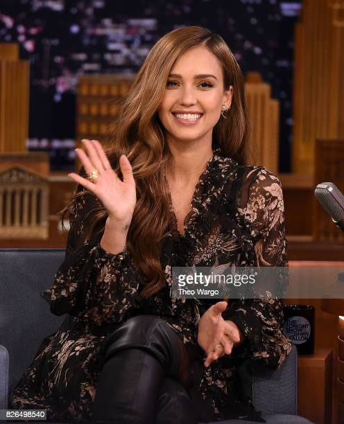 Jessica Alba Visits The Tonight Show Starring Jimmy Fallon at Rockefeller Center on August 4 2017 in New York City