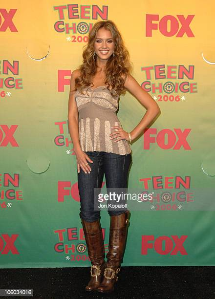 Jessica Alba winner Choice Female Hottie during 2006 Teen Choice Awards Press Room at Gibson Amphitheatre in Universal City California United States