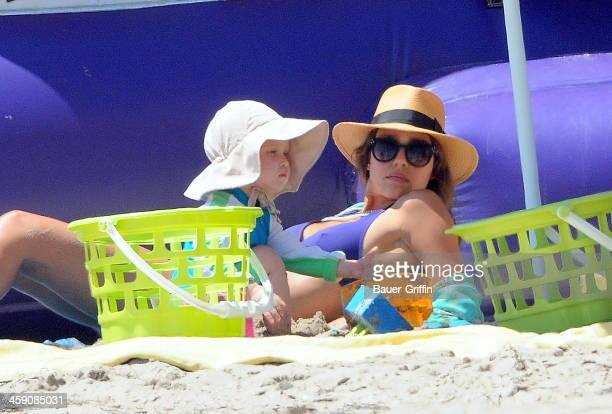 Jessica Alba with husband Cash Warren take the kids Haven Garner Warren and Honor Marie Warren to a Malibu beach on September 02 2013 in Los Angeles...