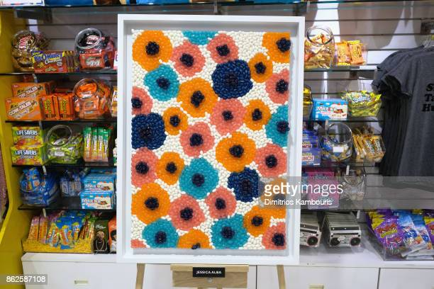 Jessica Alba's artwork on display as Dylan Lauren celebrates the Sweet 16 of Dylan's Candy Bar on October 17 2017 in New York City