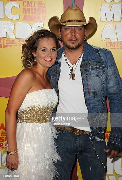 Jessica Aldean and singer Jason Aldean attend the 2011 CMT Music Awards at the Bridgestone Arena on June 8 2011 in Nashville Tennessee