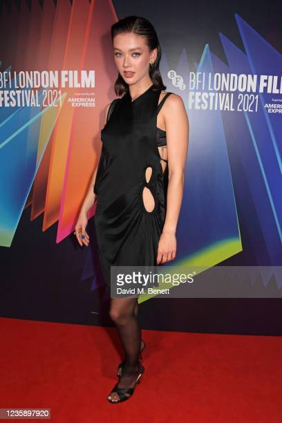 """Jessica Alexander attends the UK Premiere of """"A Banquet"""" during the 65th BFI London Film Festival at the Curzon Soho on October 15, 2021 in London,..."""