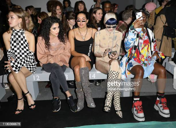 Jessica Alexander Kara Marni RIKA Sita Abellan and Nadia Rose attend the Ashish show during London Fashion Week February 2019 on February 17 2019 in...