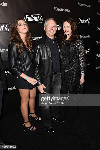 Jessica Altman actress Lynda Carter and ZeniMax Media Chairman/CEO Robert A Altman attend the Fallout 4 video game launch event in downtown Los...
