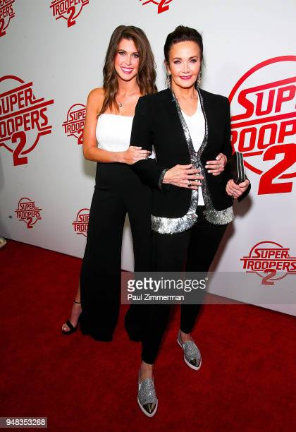 Jessica Altman and Lynda Carter attend the Super Troopers 2 New York Premiere at Regal Union Square Theatre Stadium 14 on April 18 2018 in New York...