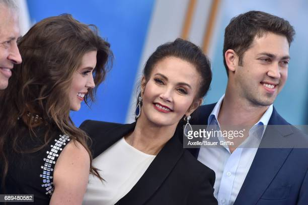 Jessica Altman Lynda Carter and James Altman arrive at the premiere of Warner Bros Pictures' 'Wonder Woman' at the Pantages Theatre on May 25 2017 in...