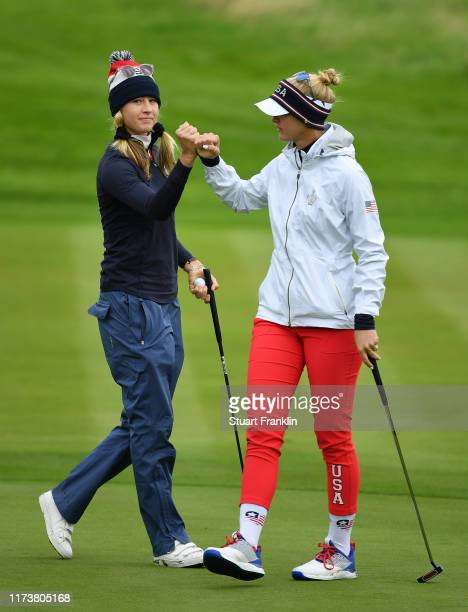 Jessica and Nelly Korda of Team USA celebrate during a practice round prior to the start of The Solheim Cup at Gleneagles on September 11 2019 in...