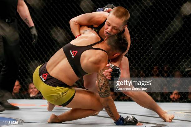 Jessica Andrade of Brazil and Rose Namajunas of USA in action in their women's strawweight championship bout during the UFC 237 event at Jeunesse...
