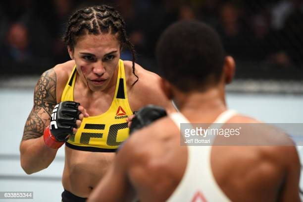 Jessica Andrade of Brazil circles Angela Hill in their women's strawweight bout during the UFC Fight Night event at the Toyota Center on February 4...