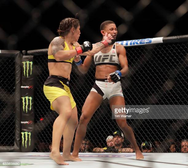 Jessica Andrade of Brazil connects with a left hook against Angela Hill during their women's strawweight bout at UFC Fight Night at the Toyota Center...