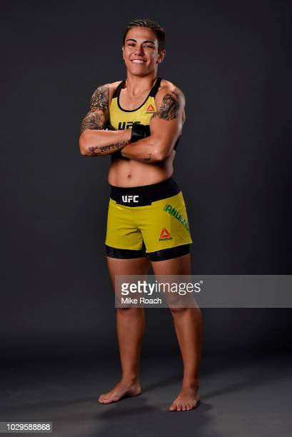 Jessica Andrade of Brazil poses for a post fight portrait backstage during the UFC 228 event at American Airlines Center on September 8 2018 in...