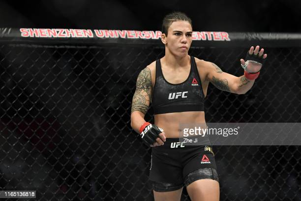 Jessica Andrade of Brazil prepares to fight Zhang Weili of China in their UFC strawweight championship bout during the UFC Fight Night event at...