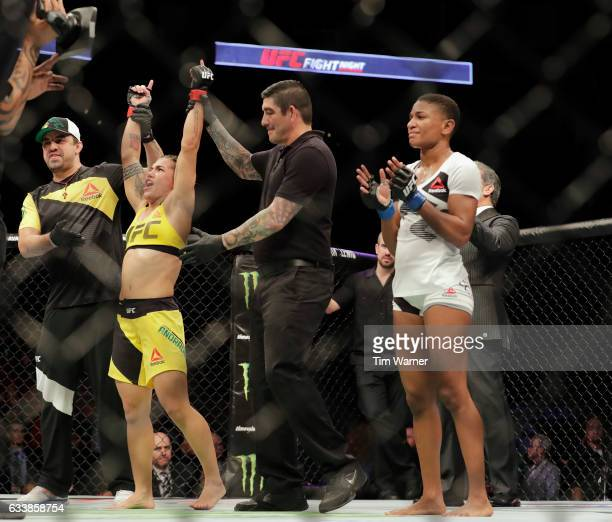 Jessica Andrade of Brazil wins the fight against Angela Hill during their women's strawweight bout at UFC Fight Night at the Toyota Center on...