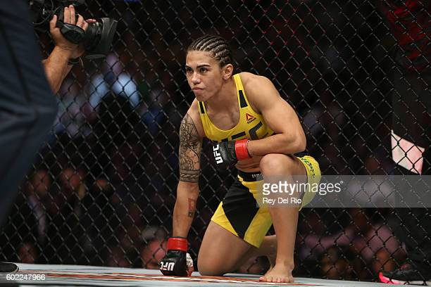 Jessica Andrade prepares for the round to begin before facing Joanne Calderwood during the UFC 203 event at Quicken Loans Arena on September 10 2016...