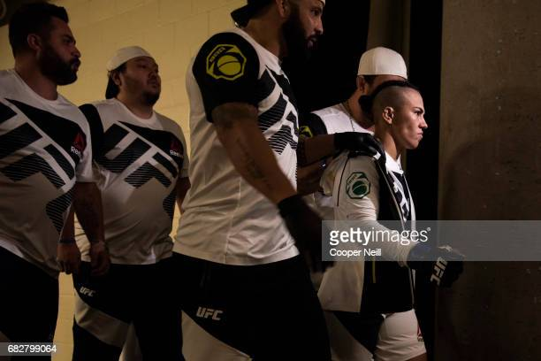 Jessica Andrade walks to the Octagon before fighting Joanna Jedrzejczyk during UFC 211 at the American Airlines Center on May 13 2017 in Dallas Texas