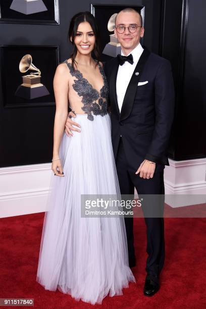 Jessica Andrea and recording artist Logic attend the 60th Annual GRAMMY Awards at Madison Square Garden on January 28 2018 in New York City