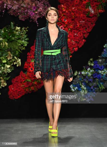 Jessica Andrews walks the runway at the Roberta Einer show during London Fashion Week February 2019 at the BFC Show Space on February 19, 2019 in...