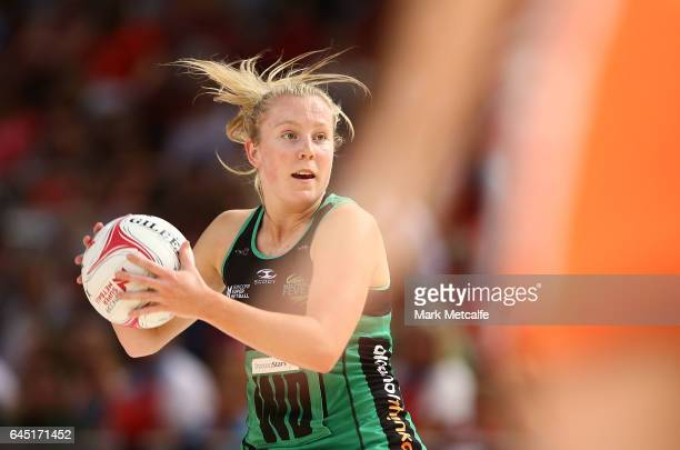 Jessica Anstiss of the Fever in action during the round two Super Netball match between the Giants and the West Coast Fever at Qudos Bank Arena on...