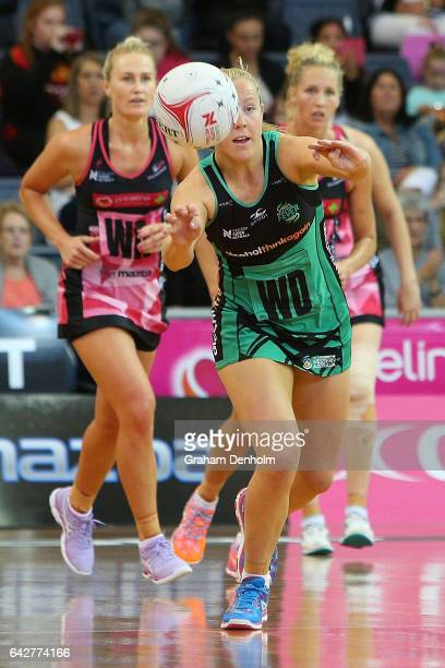 Jessica Anstiss of the Fever passes during the round one Super Netball match between the Thunderbirds and Fever on February 19 2017 in Adelaide...