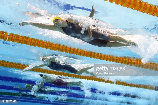 Jessica Ashwood of Australia competes during the Women's 800m Freestyle Final on day five of the Gold Coast 2018 Commonwealth Games at Optus Aquatic...