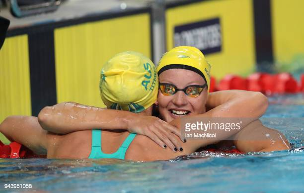 Jessica Ashwood of Australia congratulates Arianne Titmus after she wins the Women's 800m Freestyle final on day five of the Gold Coast 2018...